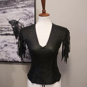 Vintage Leather Gallery Leather Tasseled Top